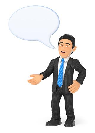 3d ilustración de la gente de negocios. Hombre de negocios con una burbuja de hablar. fondo blanco aislado.