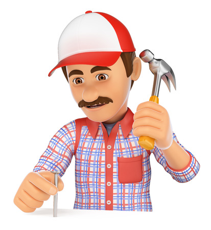 3d working people illustration. Worker nailing a nail with a hammer. Isolated white background. Stock Photo
