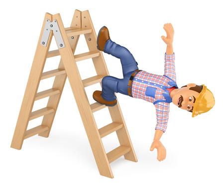 3 d の作業人のイラスト。電気技師は、はしごから落ちる。労働災害。孤立した白い背景。