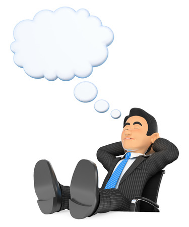 resting: 3d business people illustration. Businessman sleeping with feet up and thiking bubble. Isolated white background.