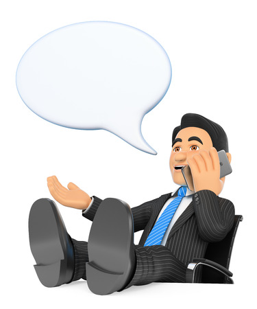 3d business people illustration. Businessman talking on mobile phone with feet up and talking bubble. Isolated white background.