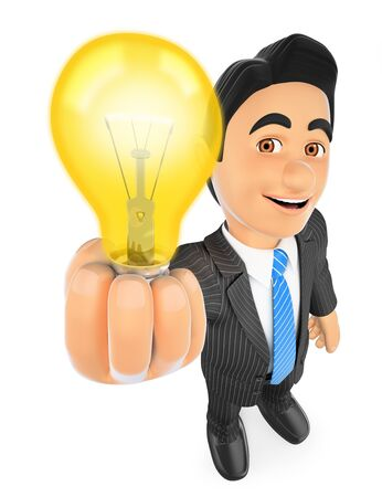 people: 3d business people illustration. Businessman with a lit light bulb. Idea concept. Isolated white background. Stock Photo