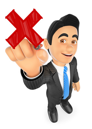 3d business people illustration. 3D Businessman drawing a red cross with a red marker pen. Isolated white background.