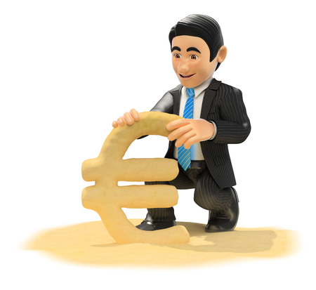 symbol: 3d business people illustration. Businessman making euro symbol with beach sand. Isolated white background. Stock Photo