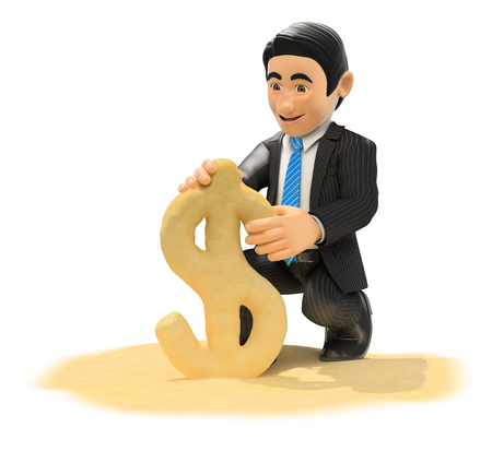 symbol people: 3d business people illustration. Businessman making dollar symbol with beach sand. Isolated white background.