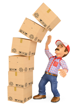 3d working people illustration. Delivery man with a pile of boxes falling on top. Work accidents. Isolated white background.