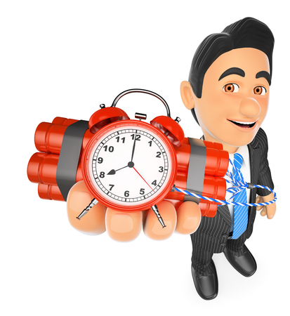 3d business people illustration. Businessman holding a time bomb. Isolated white background.