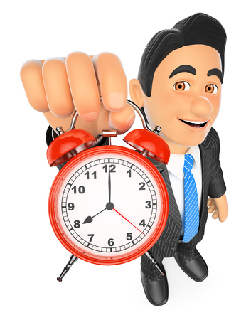 3d business people illustration. Businessman holding an alarm clock. Isolated white background. Banco de Imagens
