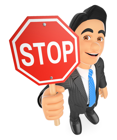 3d business people illustration. Businessman with a stop sign. Isolated white background. Stock Photo