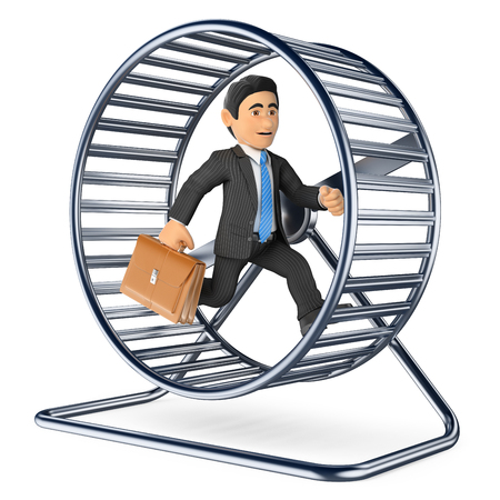 3d business people illustration. Businessman running on a hamster wheel. Isolated white background.