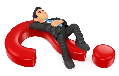3d business people illustration. Businessman thoughtful lying on a question mark. Isolated white background.