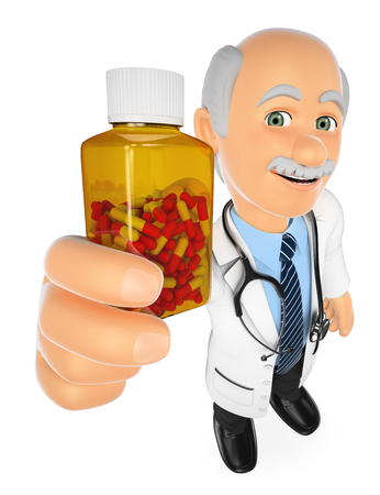 rendering: 3d medical people illustration. Doctor showing a pills bottle without label. Isolated white background.