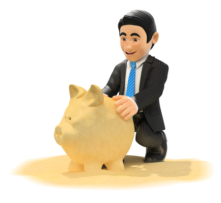 rendering: 3d bow tie people illustration. Businessman making piggy bank with beach sand. Isolated white background.