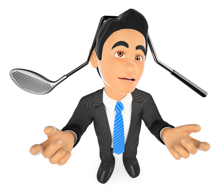 white: 3d business people illustration. Businessman with a golf club hit on head. Isolated white background.