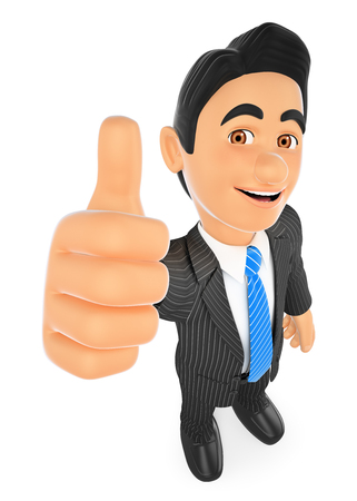 3d business people illustration. Businessman with thumb up. Isolated white background. Foto de archivo