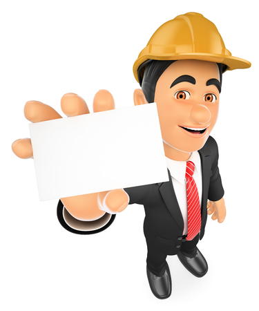 3d working people illustration. Architect with a blank card. Isolated white background.