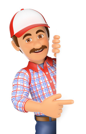 3d working people illustration. Handyman pointing aside with finger. Isolated white background. Foto de archivo