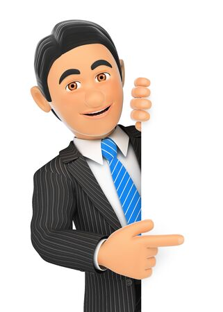 people: 3d business people illustration. Businessman pointing aside with finger. Isolated white background. Stock Photo