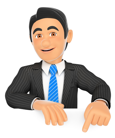 3d business people illustration. Businessman pointing down with finger. Isolated white background.