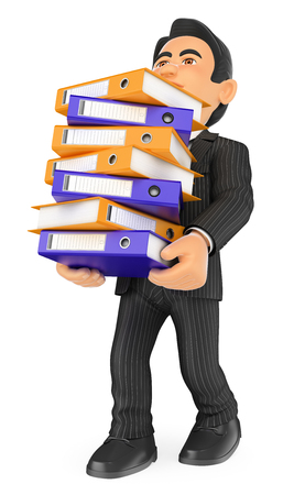 overwhelmed: 3d business people illustration. Businessman loaded with many filing cabinets. Work overload. Isolated white background.