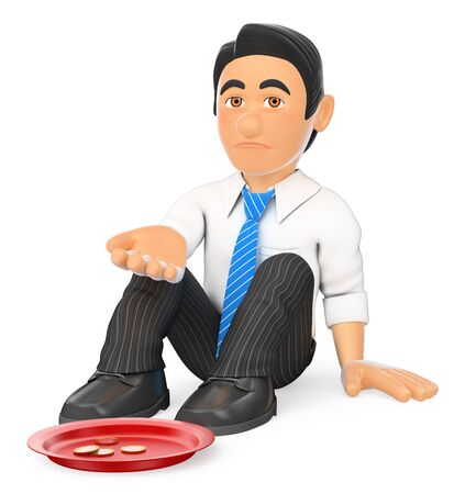 profession: 3d business people illustration. Businessman sitting on the floor begging for money. Isolated white background.