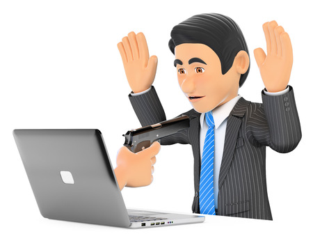 3d business people illustration. Businessman suffering a digital robbery. Ransomware. Isolated white background.