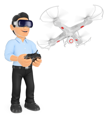 business people: 3d young people illustration. Young man piloting a drone with virtual reality glasses. Isolated white background.