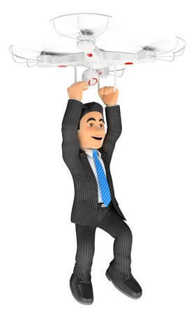 3d business people illustration. Businessman flying hanging from a drone. Isolated white background. Stock Photo