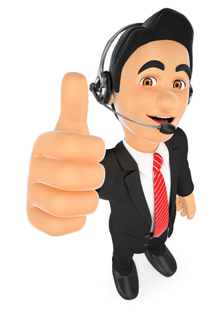 telephone: 3d working people illustration.  Call center employee with thumb up. Isolated white background. Stock Photo