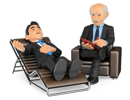 3d medical people illustration. Businessman consulting the psychologist. Isolated white background. Foto de archivo