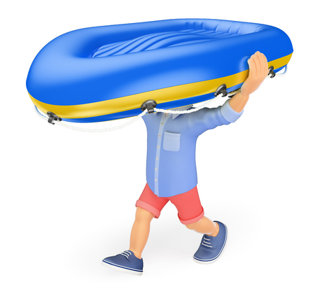 3d young people illustration. Man in shorts carrying an inflatable boat on his head. Isolated white background.