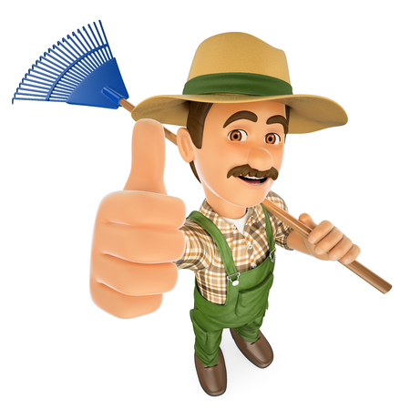 3d working people illustration. Gardener with a rake and thumb up. Isolated white background.