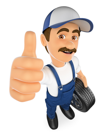 3d working people illustration. Mechanic with a wheel and thumb up. Isolated white background.