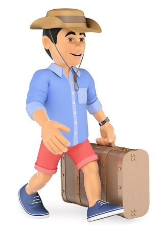 3d young people illustration. Man in shorts walking with a retro suitcase and a cap. Isolated white background.