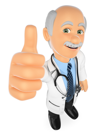 3d medical people illustration. Doctor with thumb up. Isolated white background.