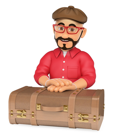 3d young people illustration. Alternative man with a vintage suitcase. Isolated white background.