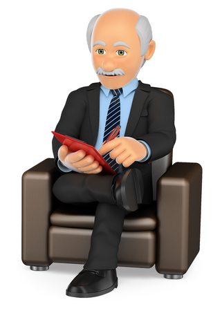 3d medical people illustration. Psychologist sitting on a sofa working. Isolated white background.