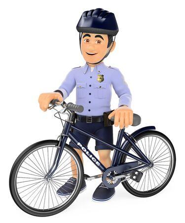 Ilustración de la gente de las fuerzas de seguridad 3d. Policía en pantalones cortos con su bicicleta. Aislado fondo blanco. Foto de archivo