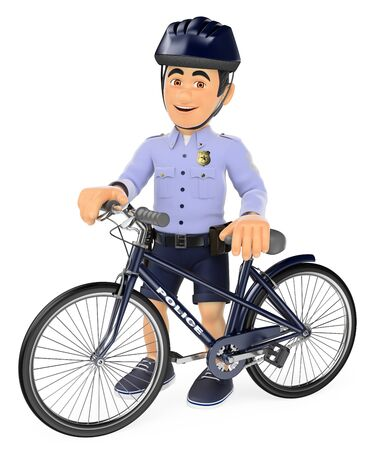 3d security forces people illustration. Police in shorts with his bike. Isolated white background.