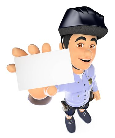 3d security forces people illustration. Police in shorts and bike hard hat with a blank card. Isolated white background.