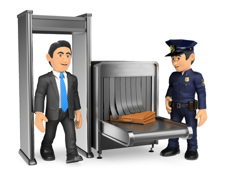 business people: 3d security forces people illustration. Businessman at airport police check. Isolated white background.