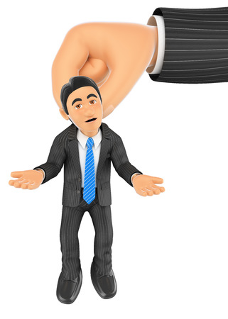 big: 3d business people illustration. Businessman hanging from a giant hand. Isolated white background.