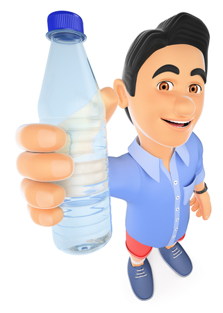 3d young people illustration. Young man in shorts with a bottle of water. Isolated white background. Foto de archivo