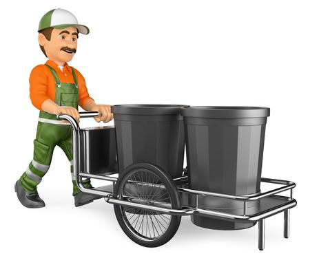 3d personas que trabajan ilustración. Barrendero de la calle que trabaja con su carro de la basura. Aislado fondo blanco.