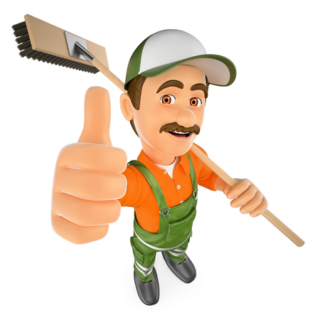 3d working people illustration. Street sweeper with thumb up. Isolated white background. Foto de archivo