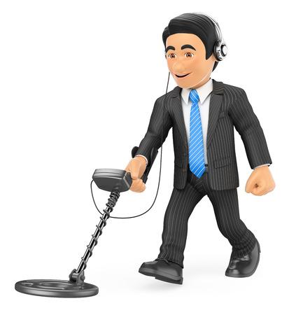 Ilustración de gente de negocios 3d. Hombre de negocios con un detector de metales. Fondo blanco aislado.