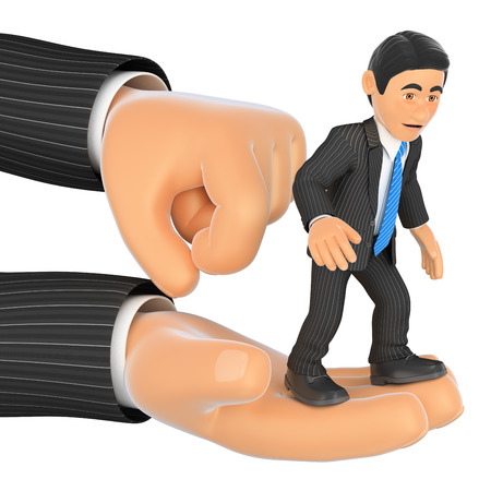 finger nails: 3d business people illustration. Businessman on top of a giant hand. Fired. Isolated white background.