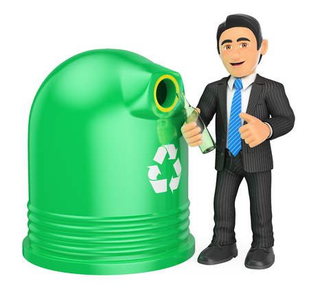 people: 3d business people illustration. Businessman recycling a glass bottle. Isolated white background