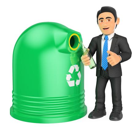 3d gente de negocios ilustración. Hombre de negocios que recicla una botella de cristal. Aislado fondo blanco