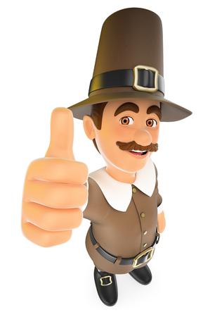 Ilustración de personas de acción de gracias 3D. Hombre con pulgar arriba. Fondo blanco aislado.